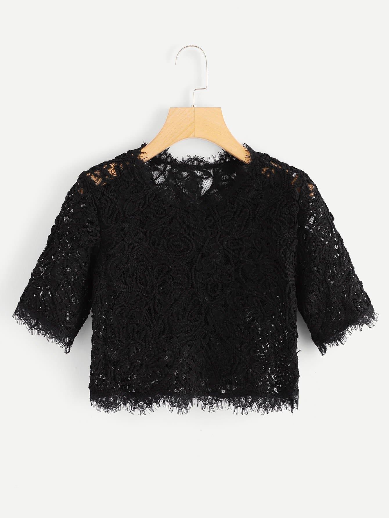 Купить Ажурная кружевная кроп-блузка, null, SheIn