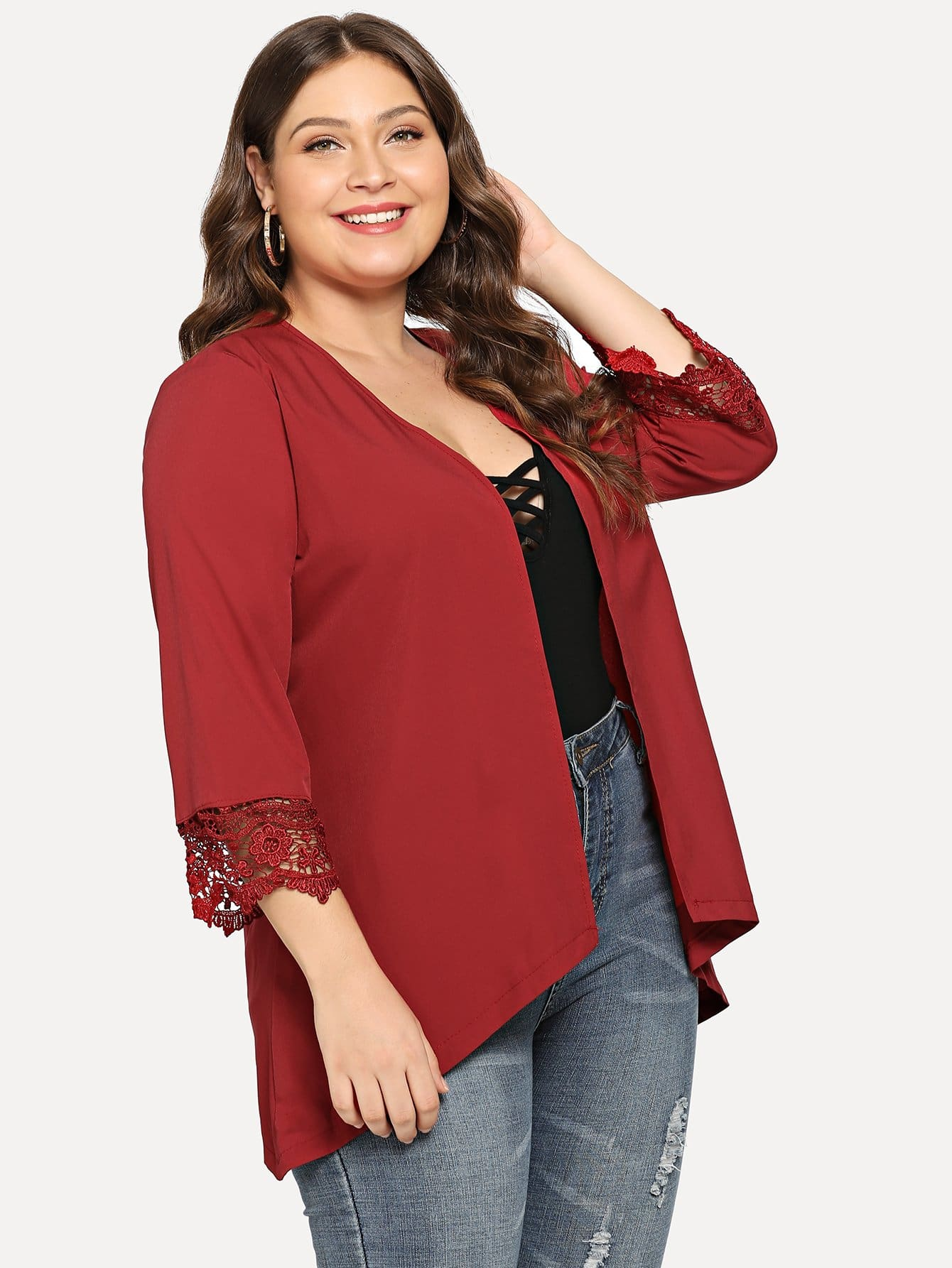Plus Lace Crochet Contrast Cuff Outerwear