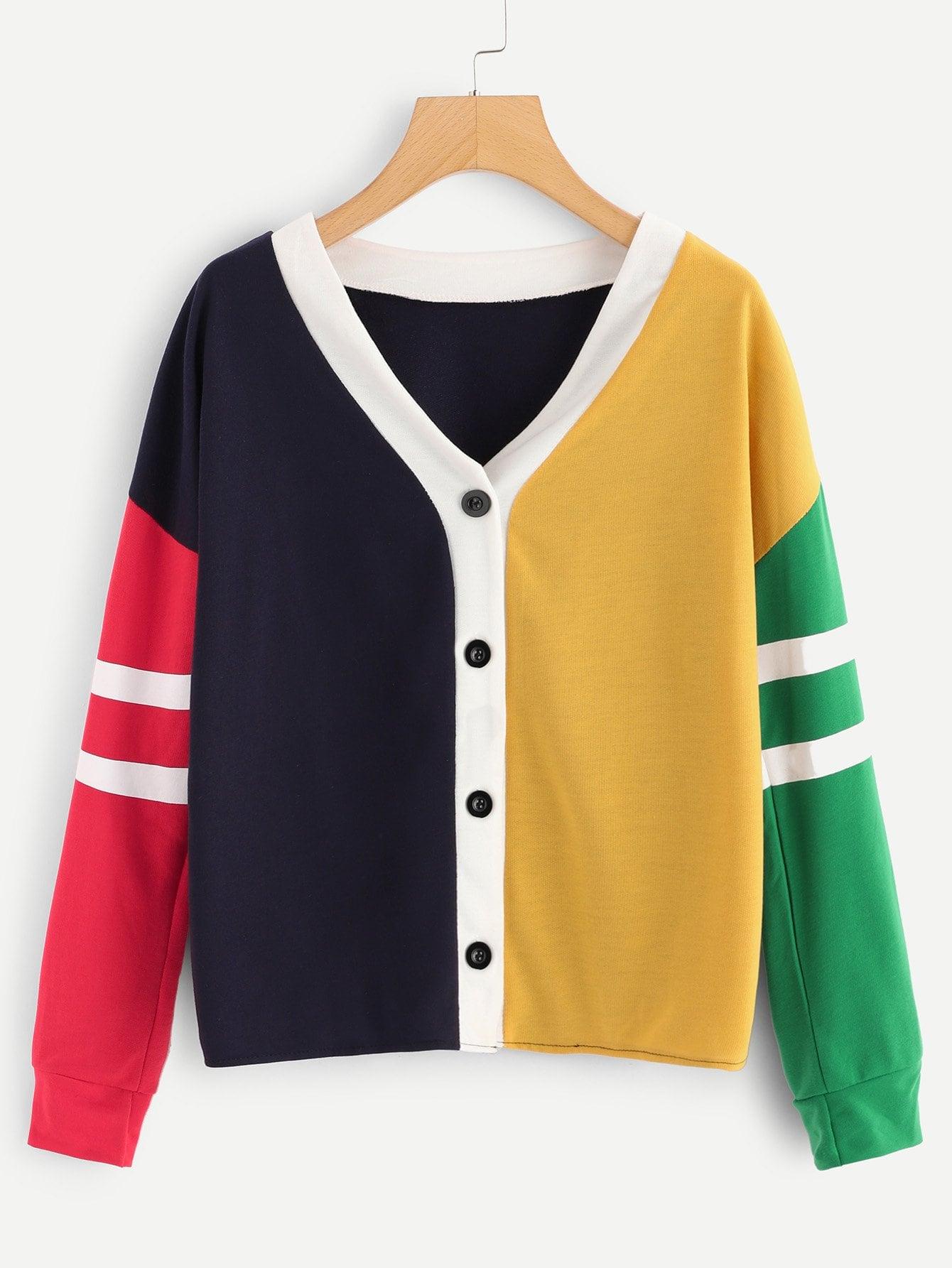 Single Breasted Color Block Sweatshirt