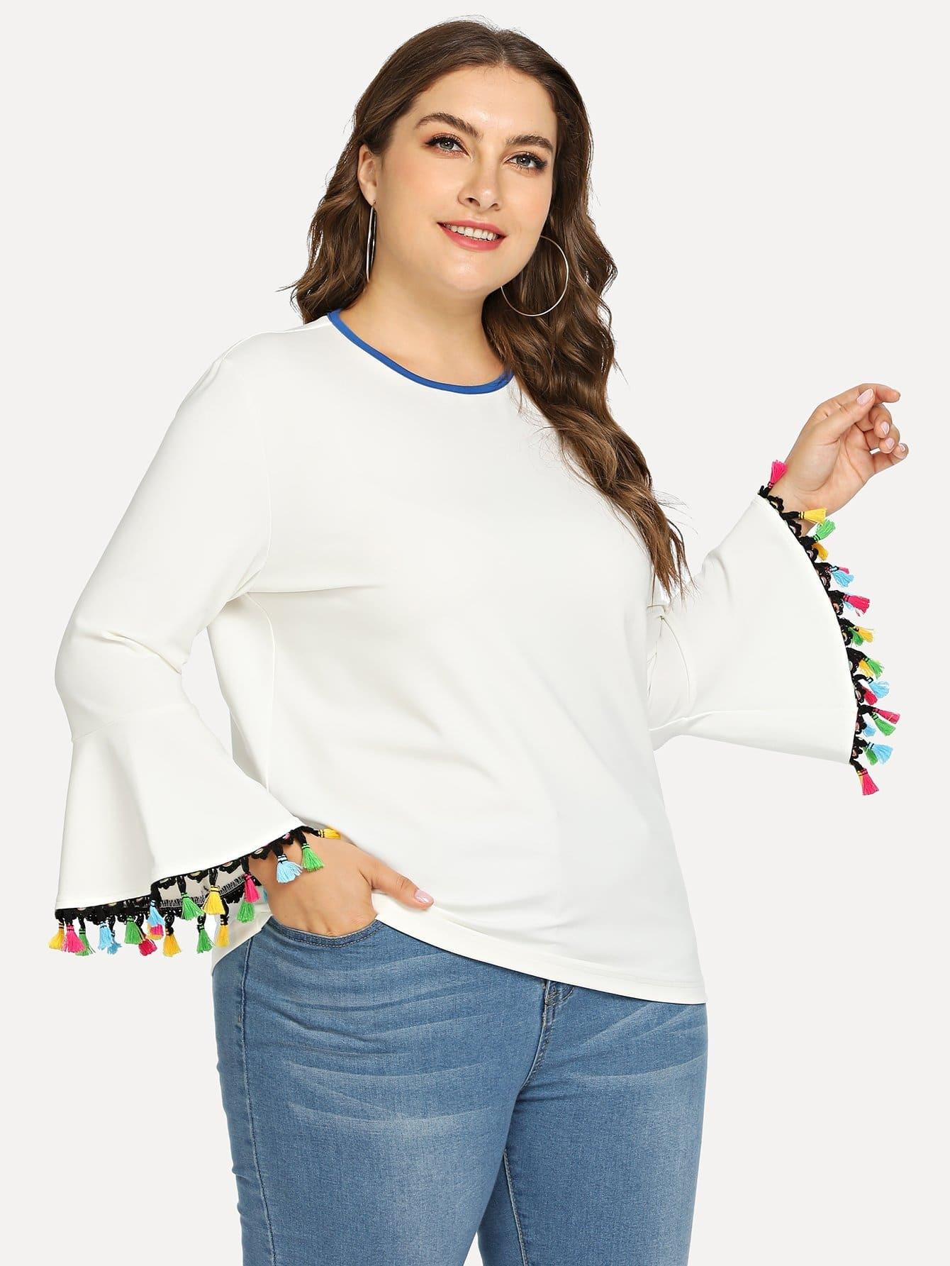 Купить Большая футболка и рукав с розеткой и подол с бахромами, Franziska, SheIn