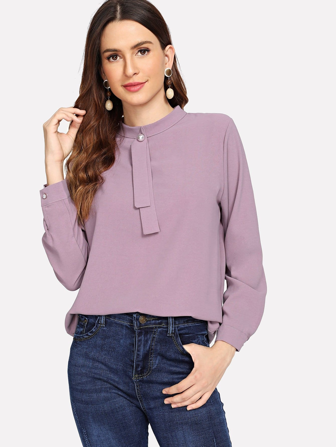 Pearl Detail Keyhole Back Solid Blouse