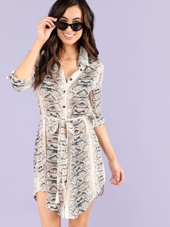 Button Front Snake Skin Print Dress