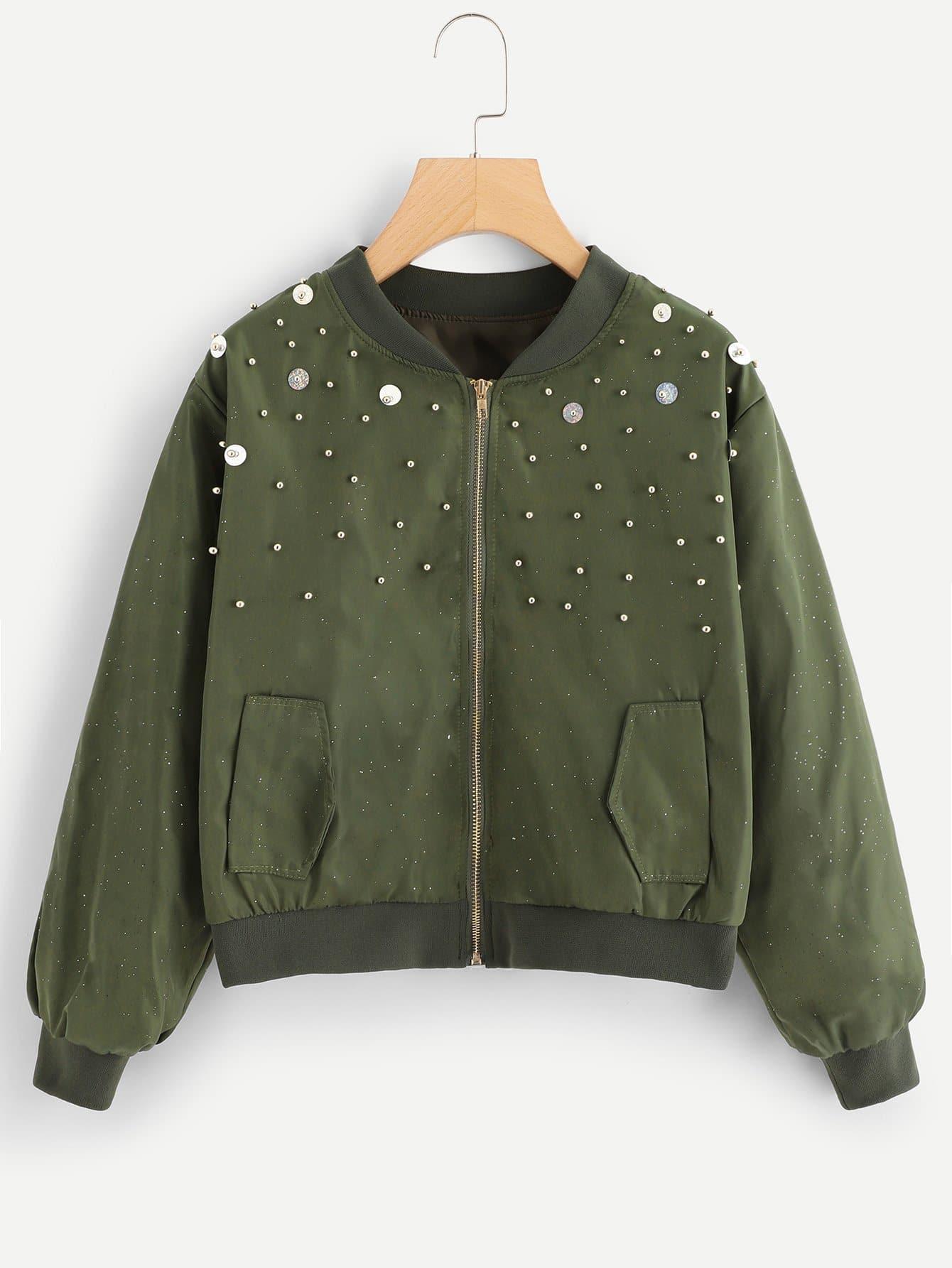 Beaded Detail Zipper Jacket