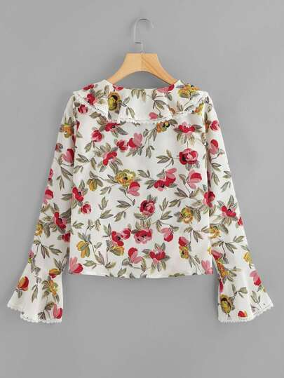 Romwe / Lace Trim Fluted Sleeve Floral Blouse