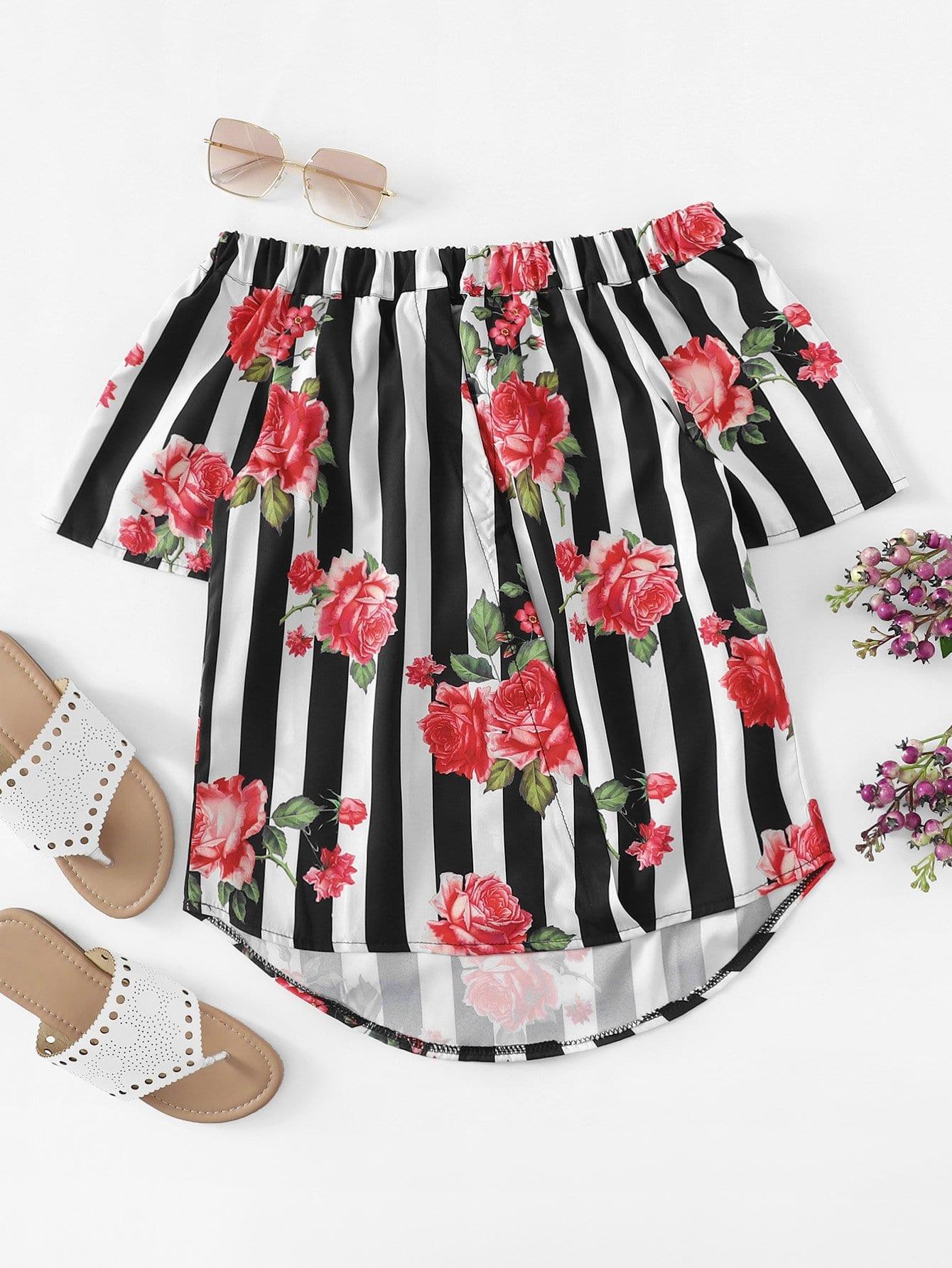 Schulterfreie Bluse mit Streifen, abfallendem Saum und Blumen