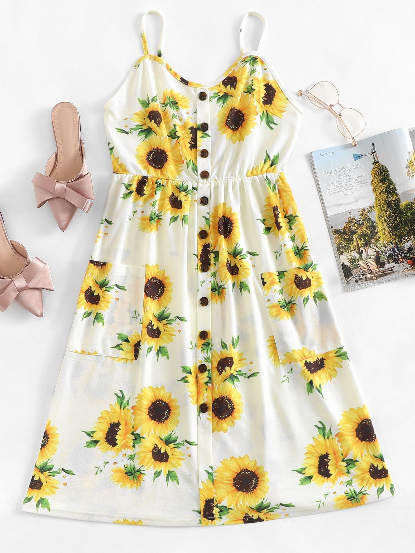Sunflower Print Button Decoration Dress