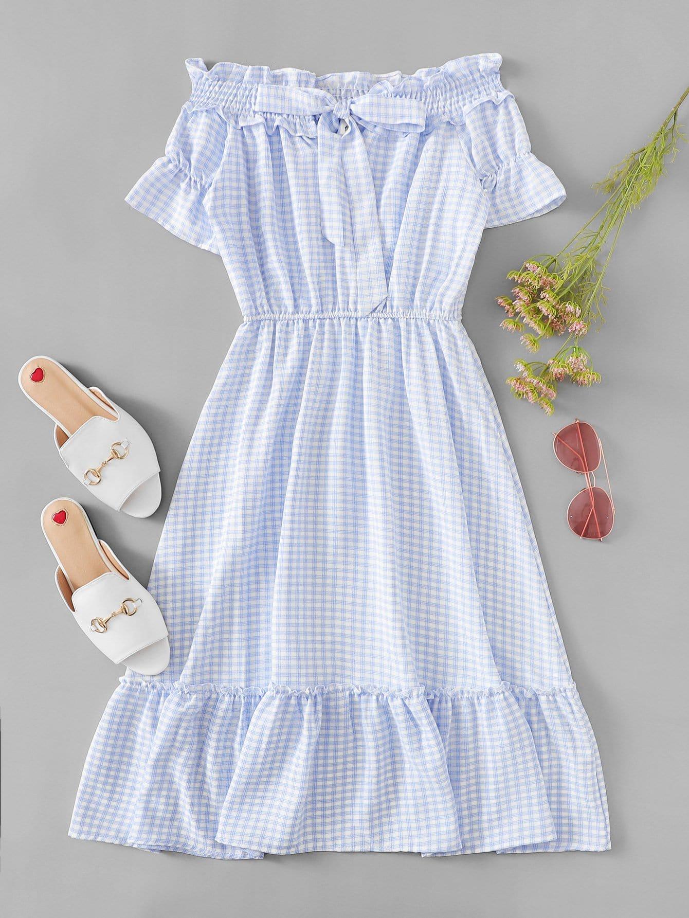 Off Shoulder Ruffle Hem Plaid Dress