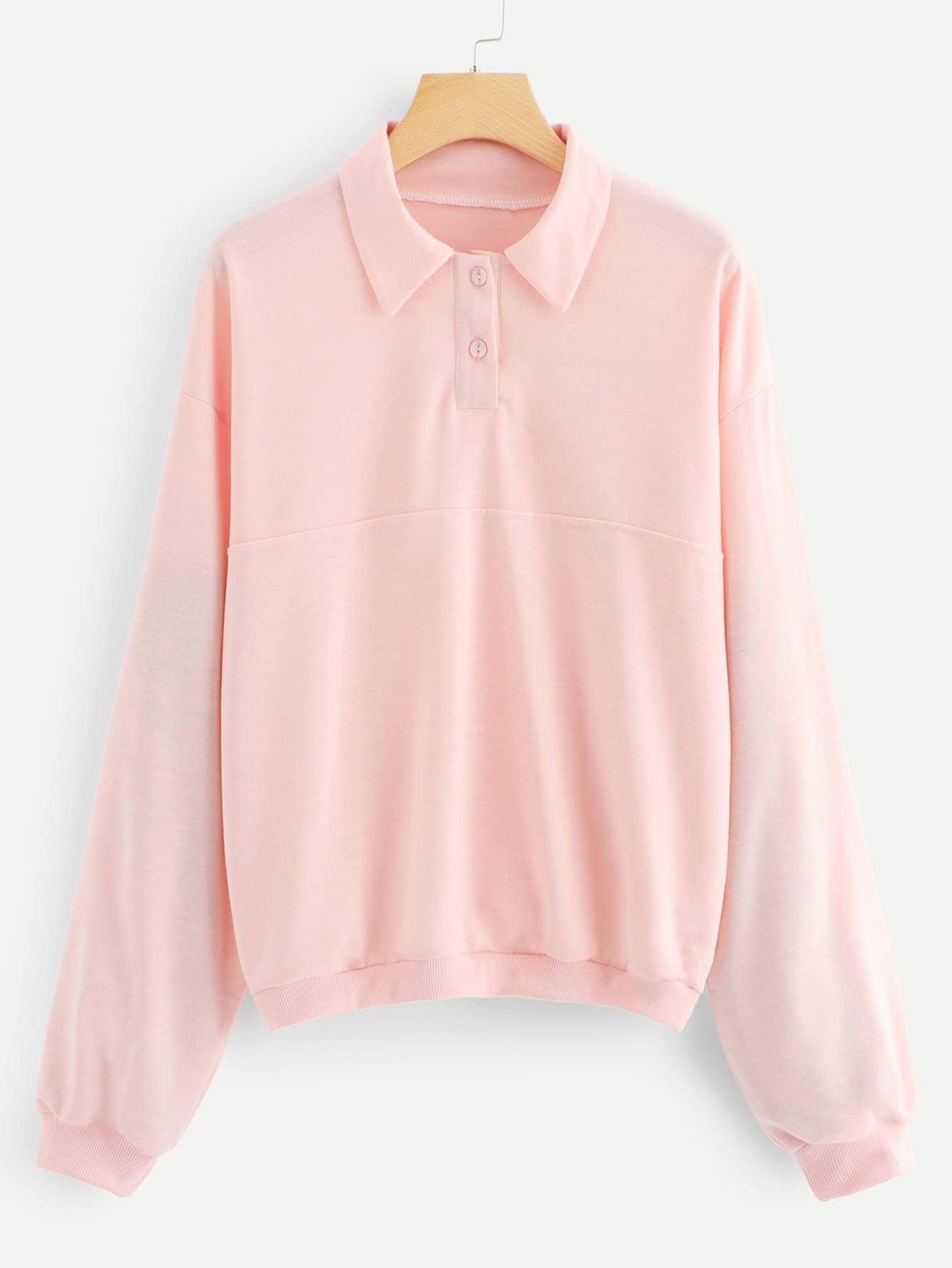 Collar Solid Sweatshirt