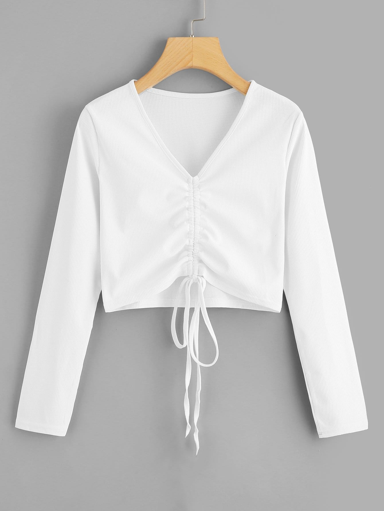 Drawstring Front Solid Crop Tee