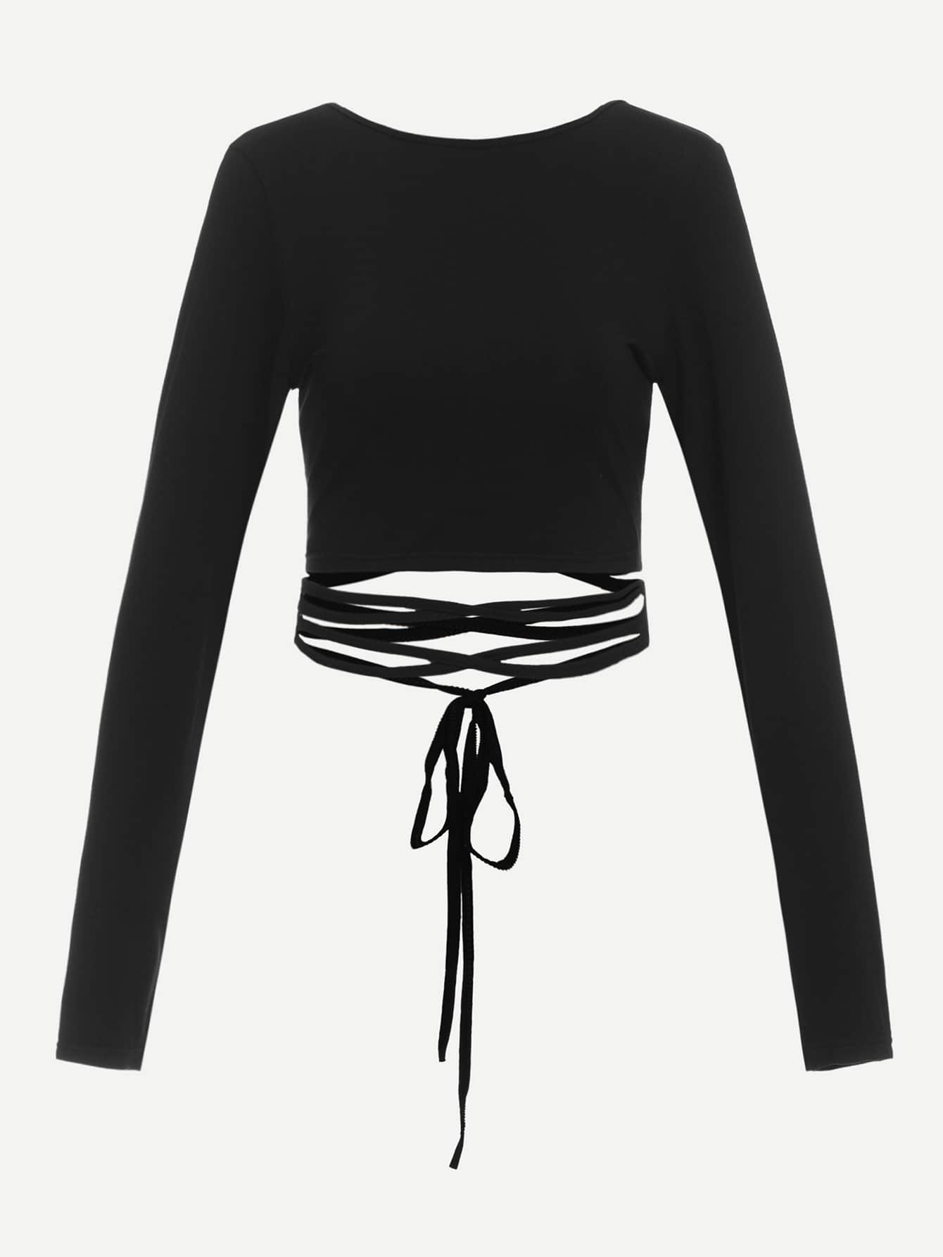 Criss Cross Back Knot Waist Tee