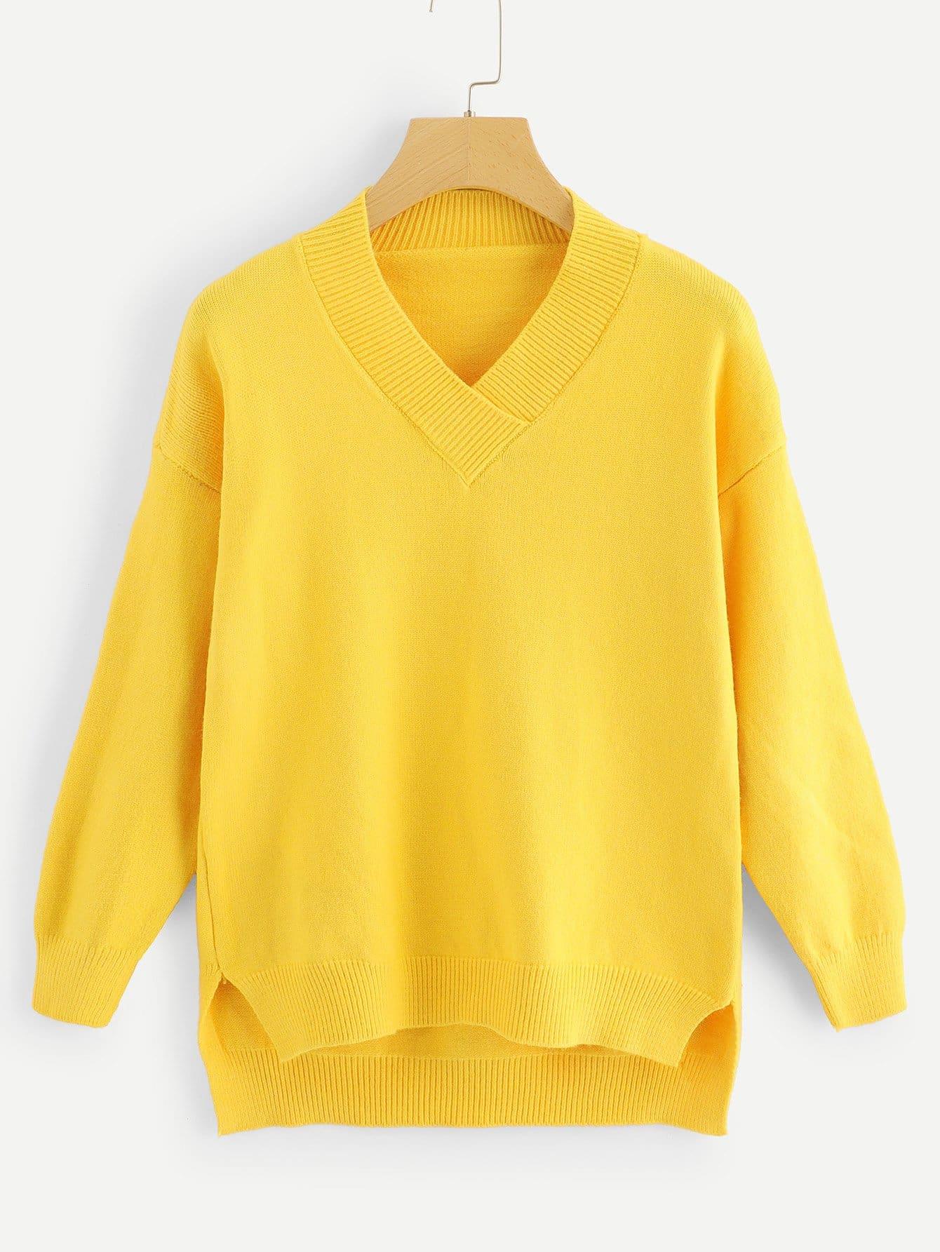 Asymmetrisches Sweatshirt mit V-Hals
