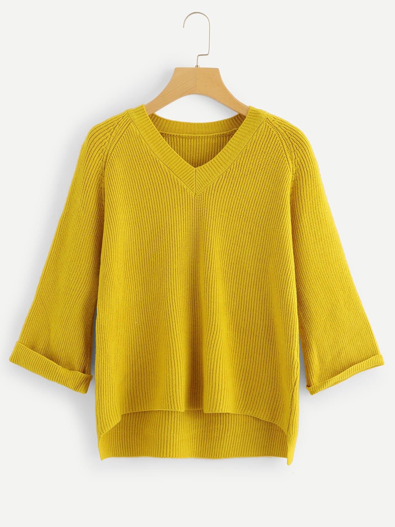 Asymmetrisches Sweatshirt mit V-Ausschnitt