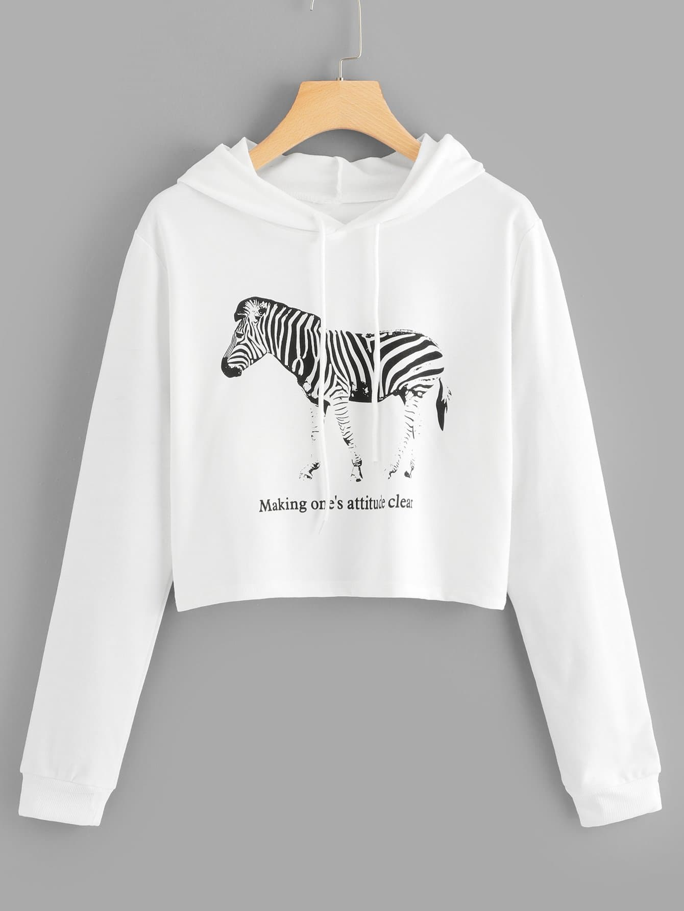 Zebra And Letter Print Hooded Sweatshirt