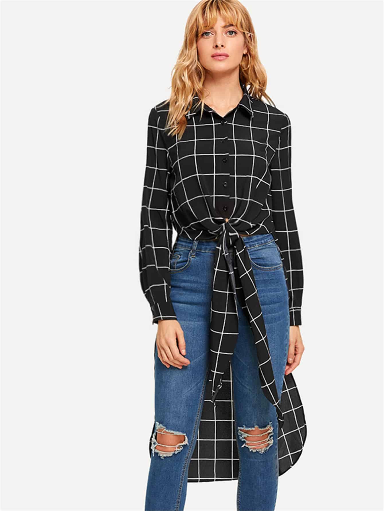 Купить Клетчатая блузка с украшением банта перед одежды, Masha, SheIn