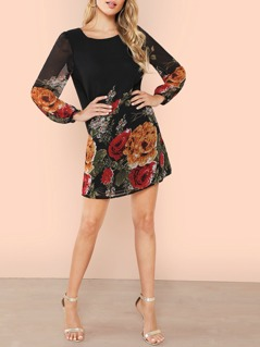 Allover Flower Print Tunic Dress