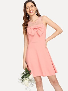 Mesh Yoke Bow Embellished Dress