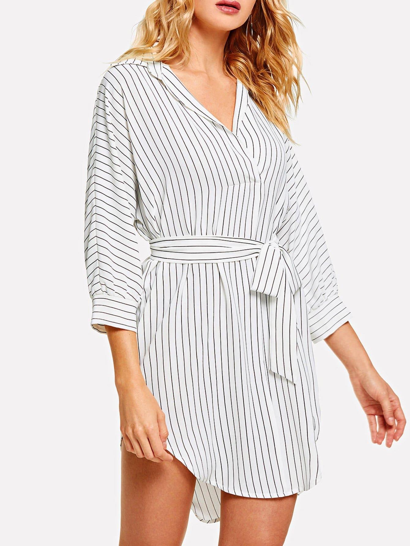 Купить Полосатое платье с поясом, Masha, SheIn
