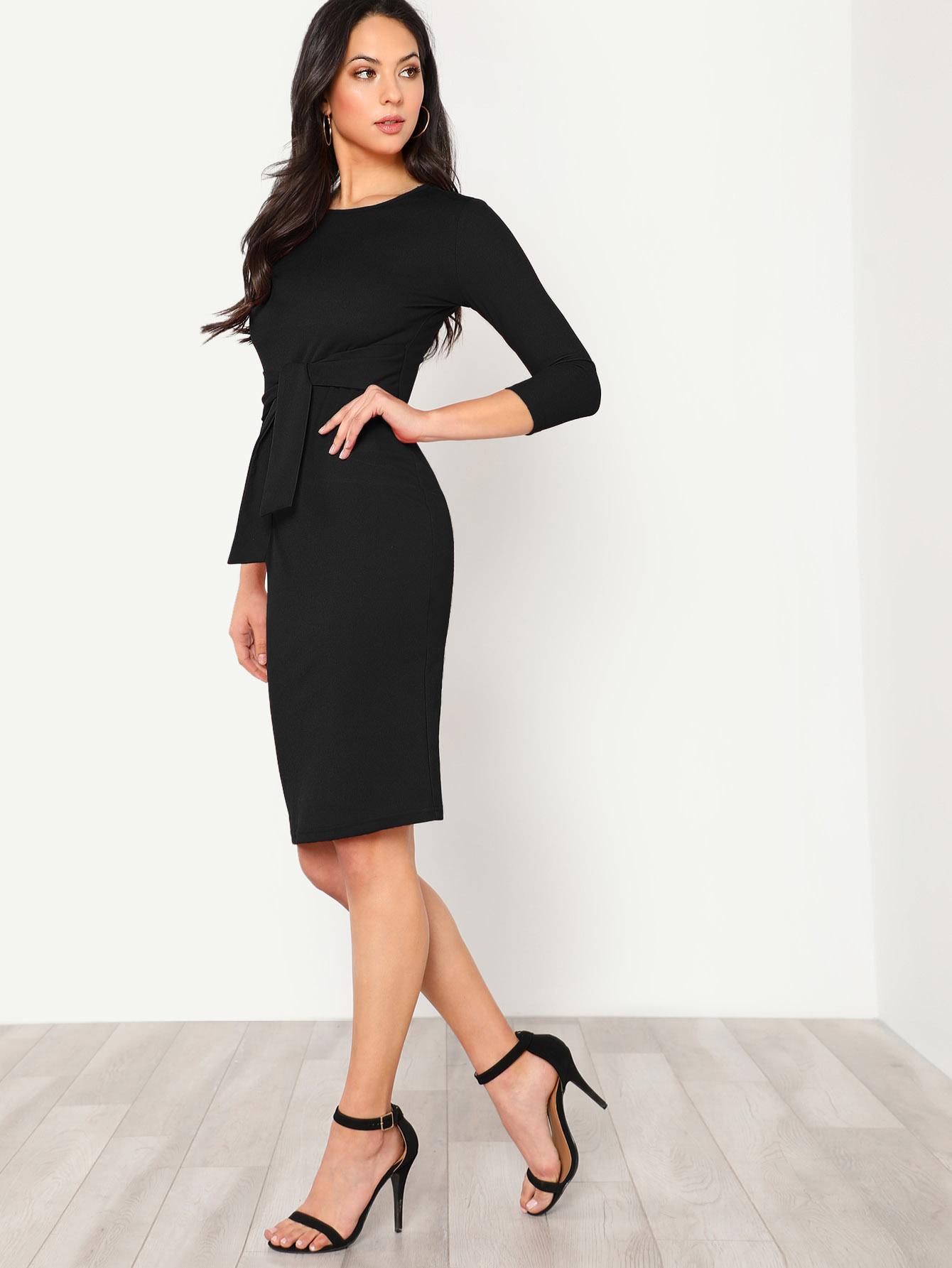 Купить Шеи Замочной Скважины На Задней карандаш платье с бантом, Christen Harper, SheIn