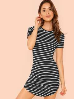 Striped Curved Hem Dress