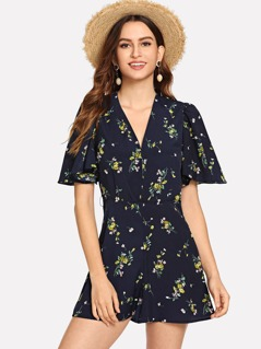 Plunge Neck Flounce Sleeve Belted Ditsy Romper