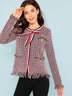 Striped Tape Detail Frayed Tweed Coat
