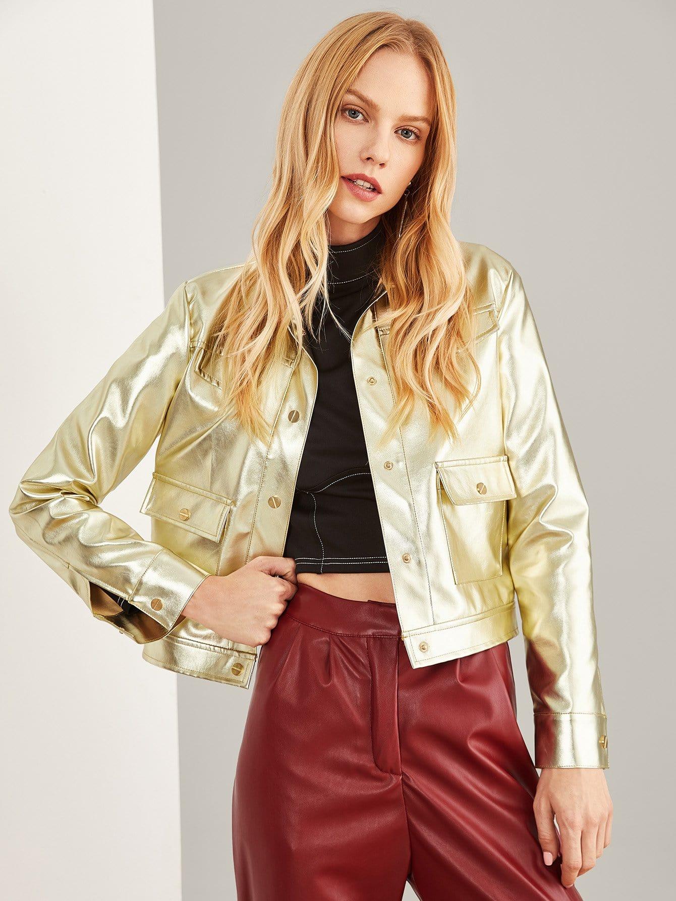 Купить Кожаная пальто с украшением пуговицы и кармана, Denisa, SheIn