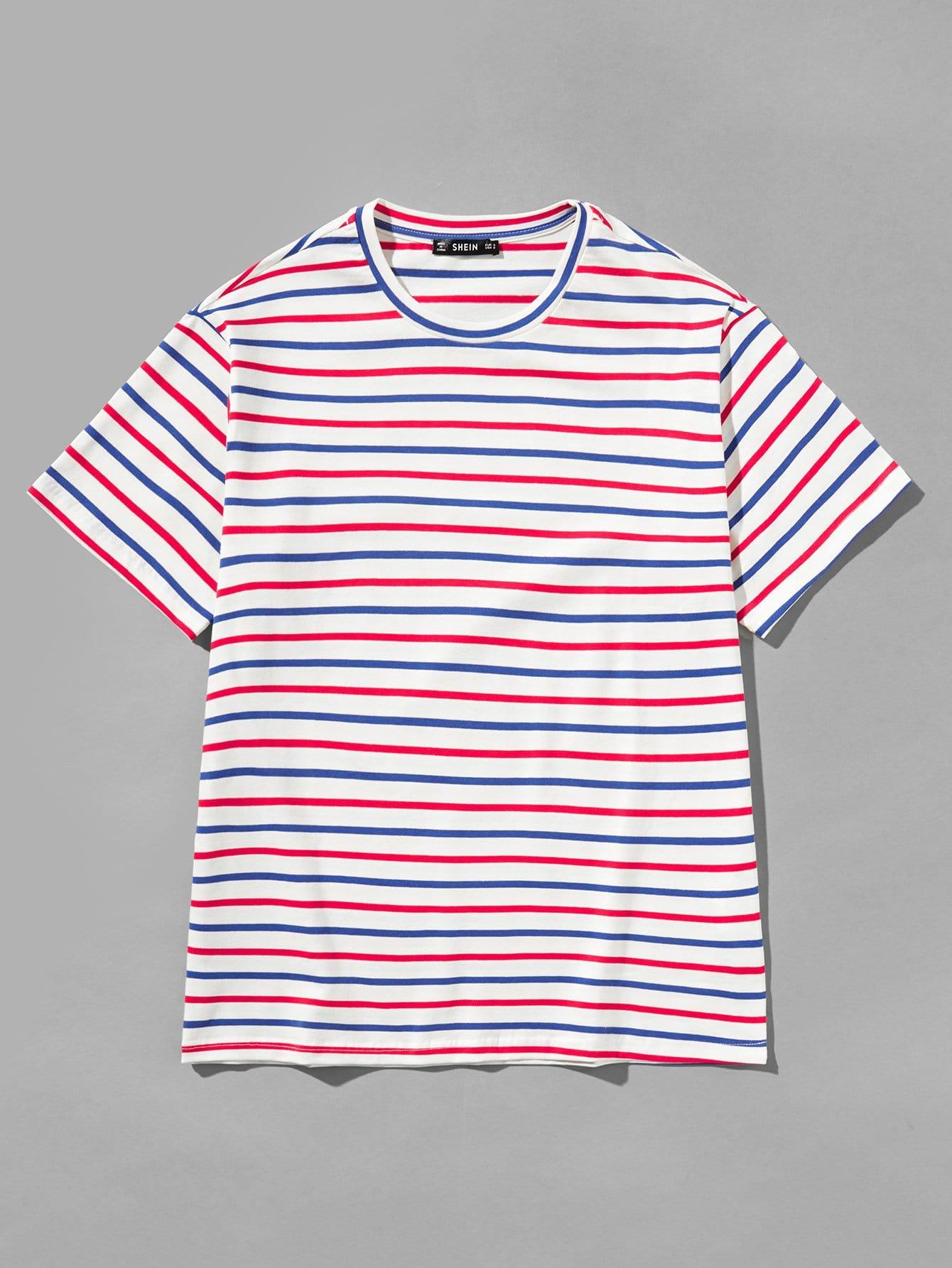Купить Мужская полосатая футболка с коротким рукавом, null, SheIn