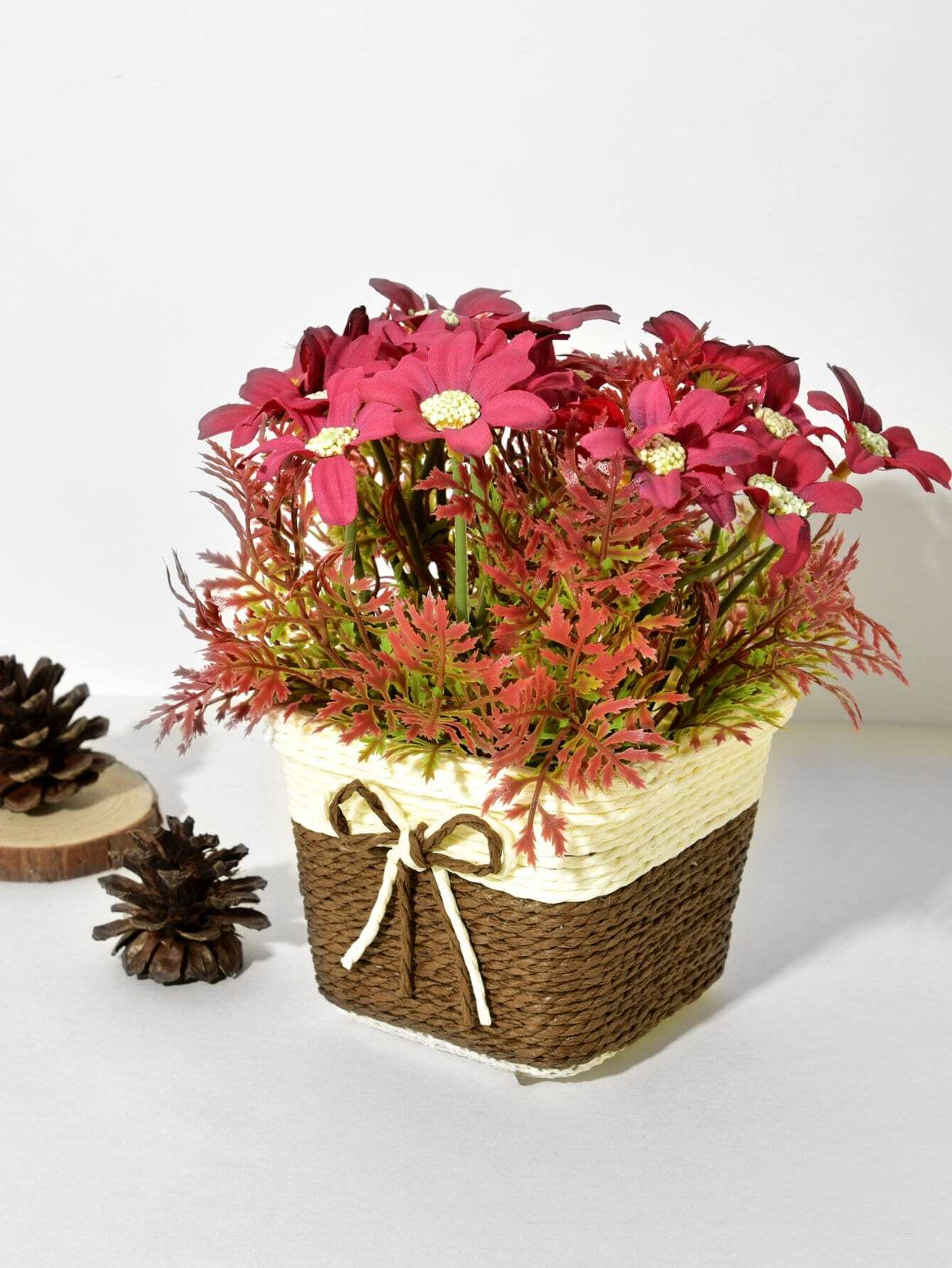 Artificial Flower 9pcs Branch With Rattan Pot