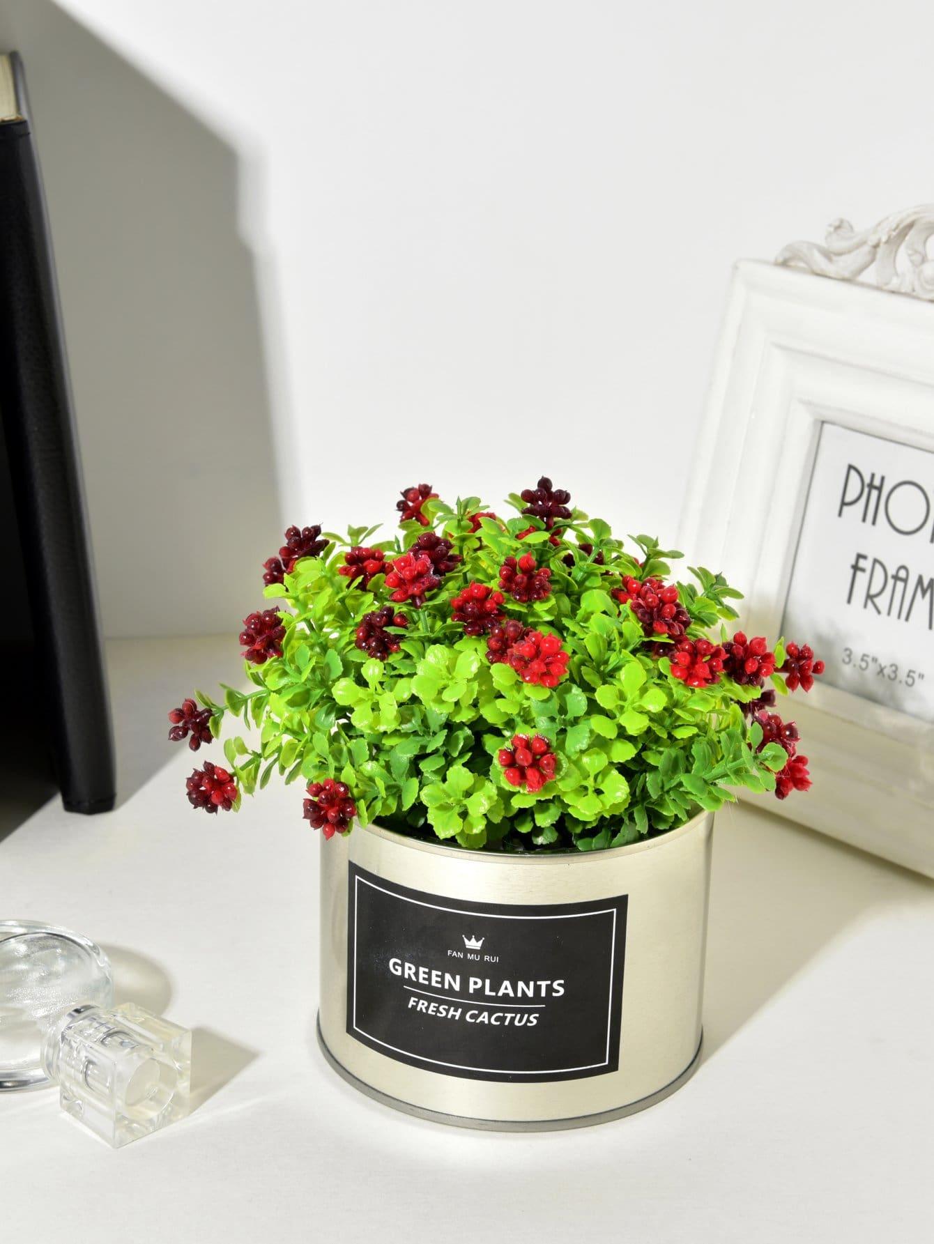 Artificial Flower 4pcs Branch With Iron Pot