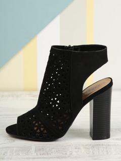 Perforated Peep Toe Sandals