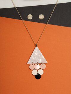 Stud Earrings And Geometric Necklace Set