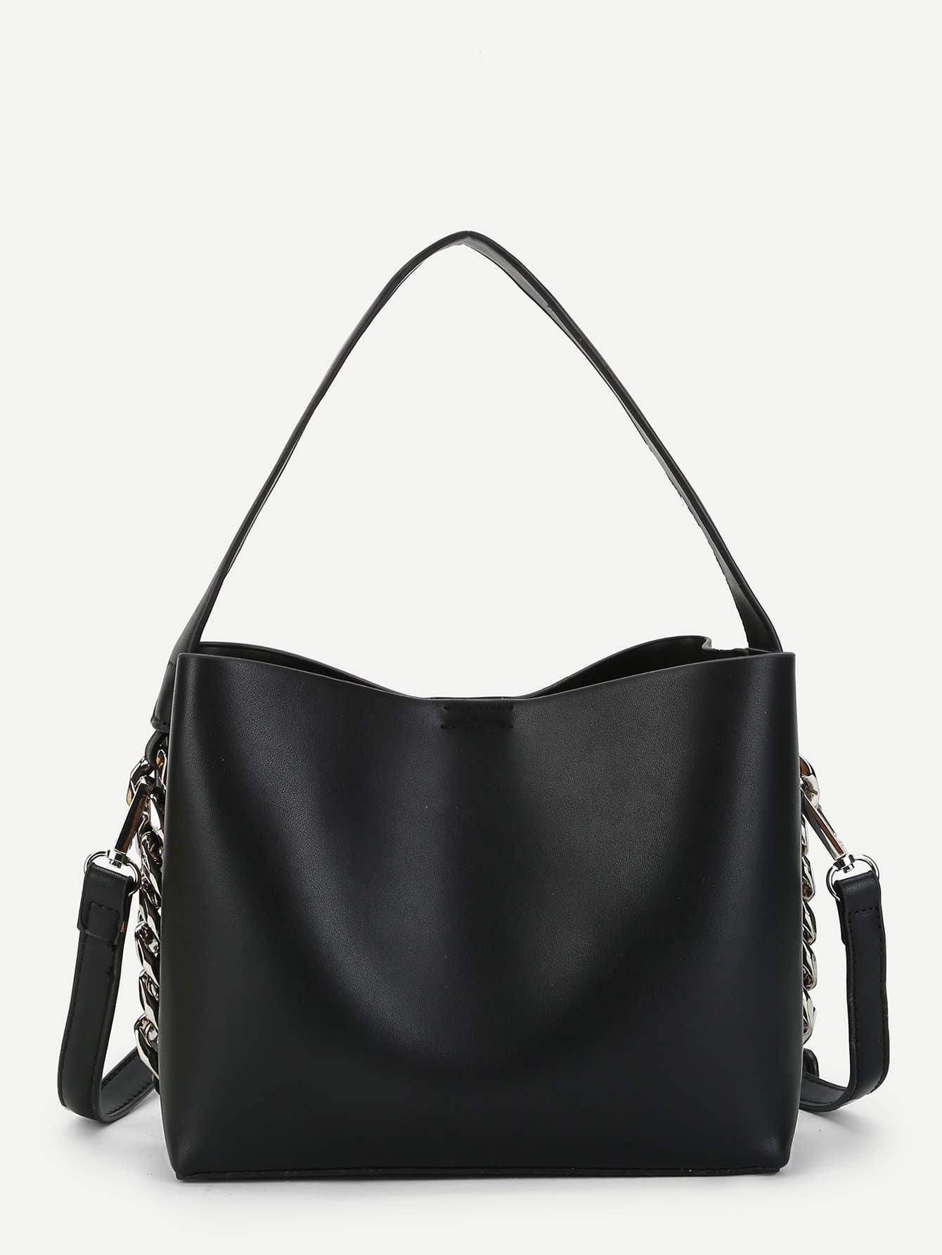 Купить Кожаная сумка с цепью и с маленькой сумкой, null, SheIn