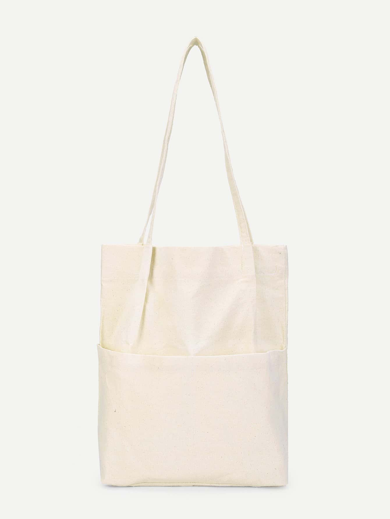 Купить Однотоная сумка-тоут с карманом, null, SheIn