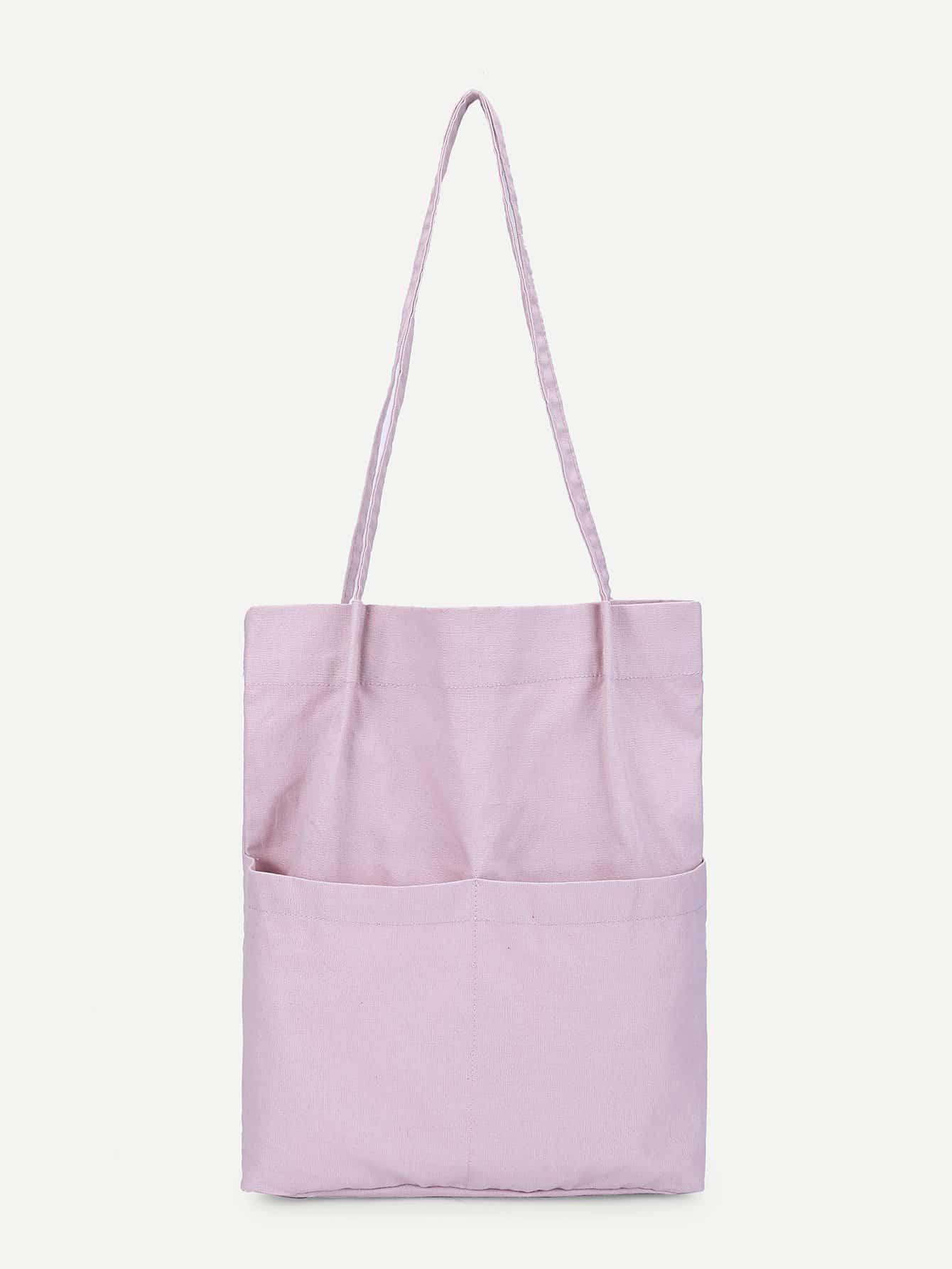 Купить Однотонная сумка с карманом, null, SheIn