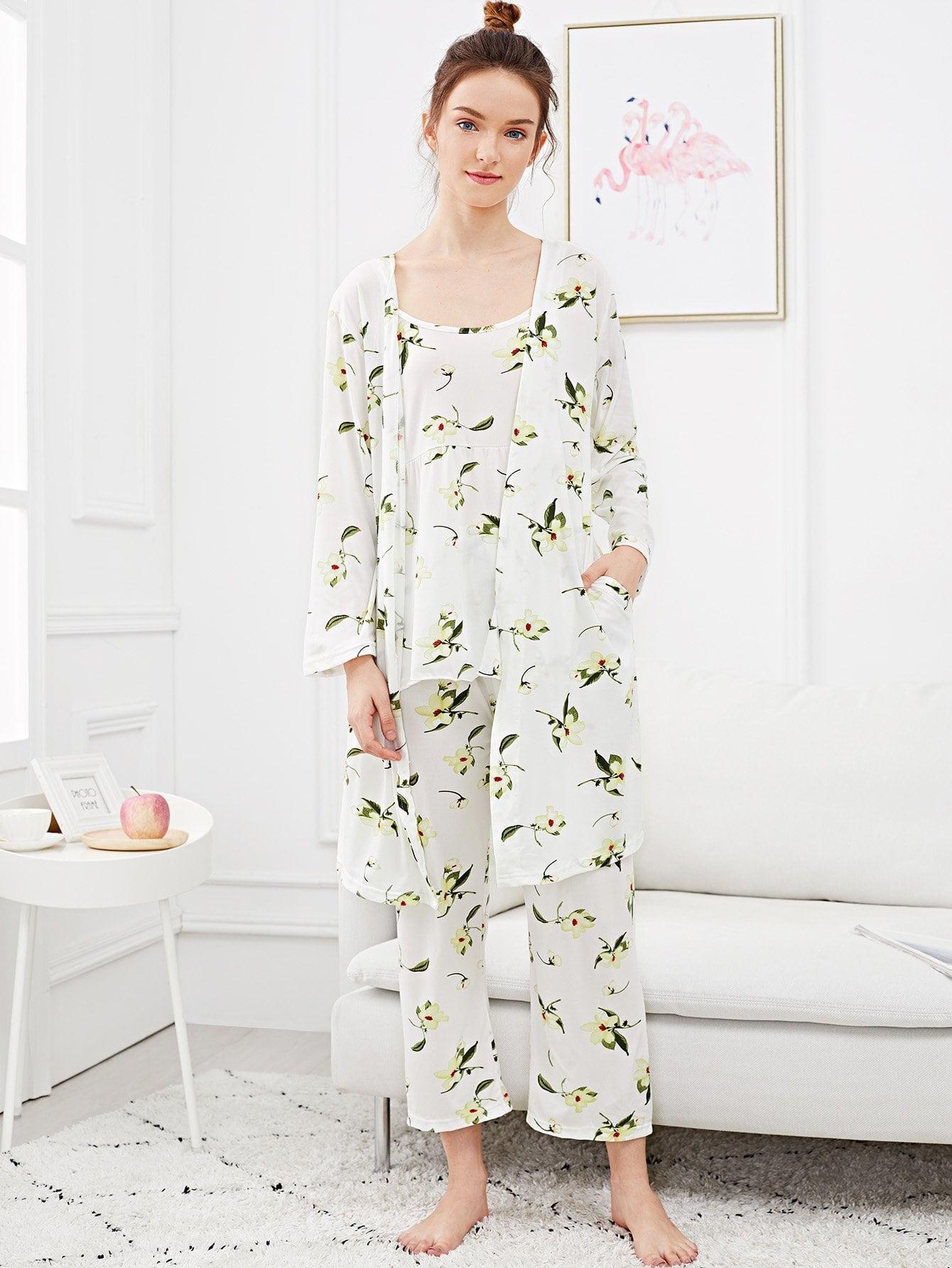 Купить Комплект ситцевой пижамы на бретелях и домашний халат, Tory, SheIn