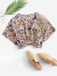 Botanical Print Bow Embellished Crop Top
