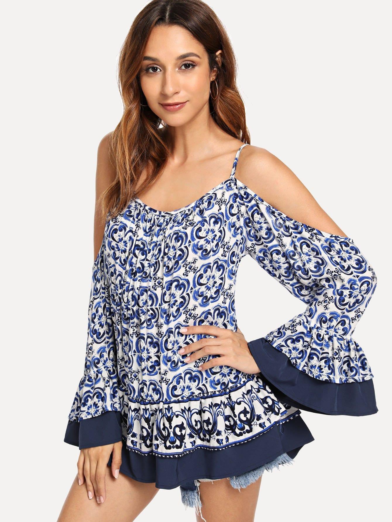 Купить Рубашка без бретелек и с кружевными оборками, Gabi B, SheIn
