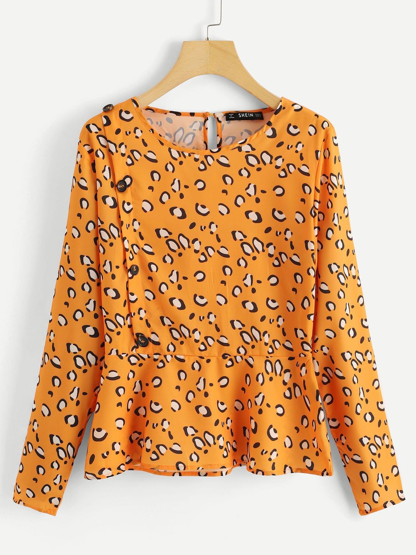 Купить Leopard Печать Peplum Вверх, null, SheIn