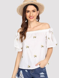 Knot Detail Off Shoulder Top