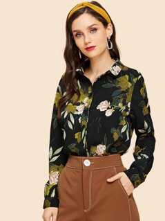 Button Front Collar Neck Floral Top