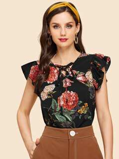 Lace Up V Neck Floral Ruffle Top