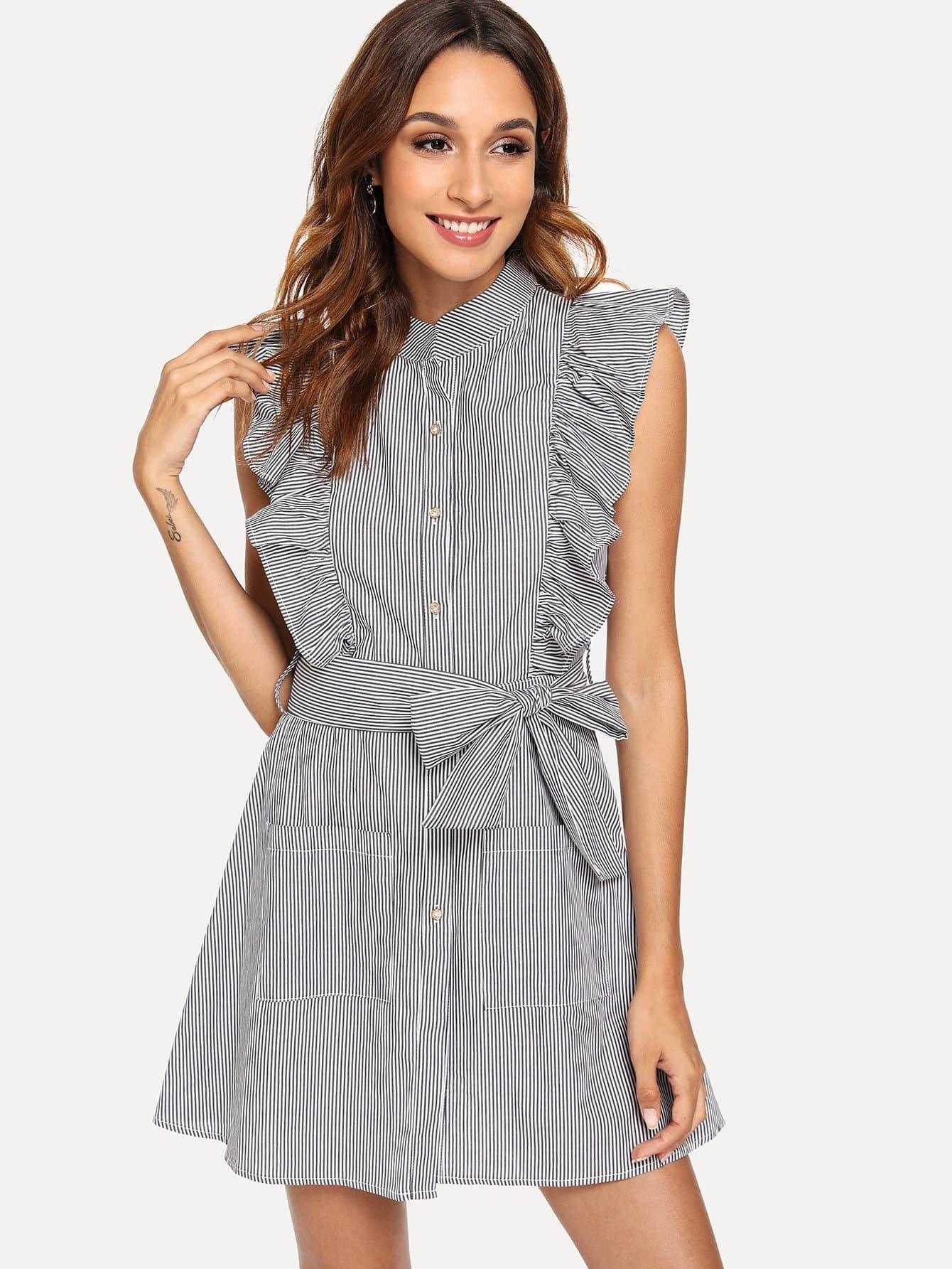 Ruffle Trim Belted Shirt Dress self belted solid ruffle trim dress