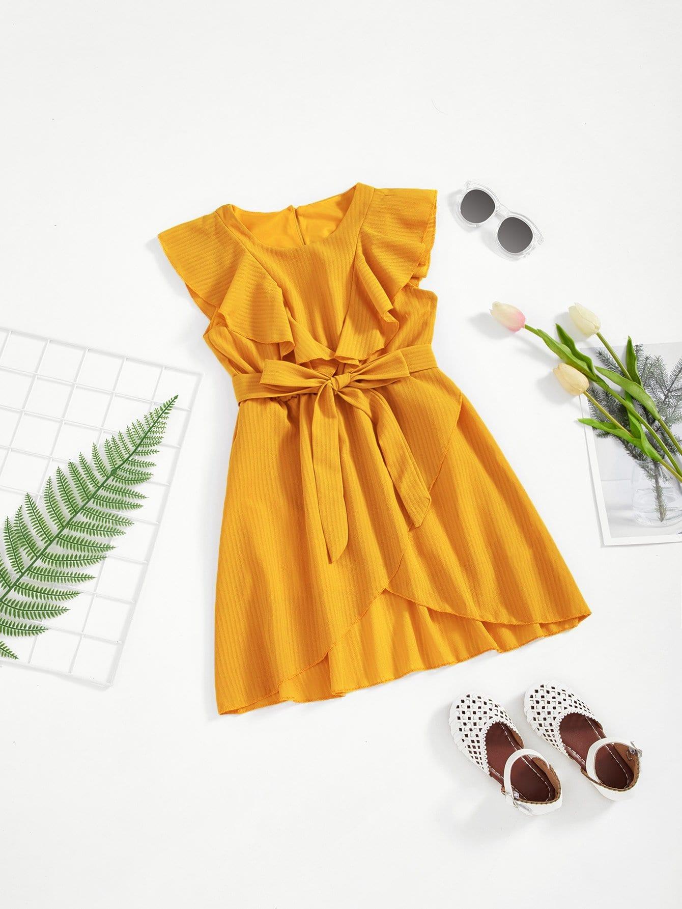 Девушки Flounce Trim Асимметричная обертка Hem Belted Dress