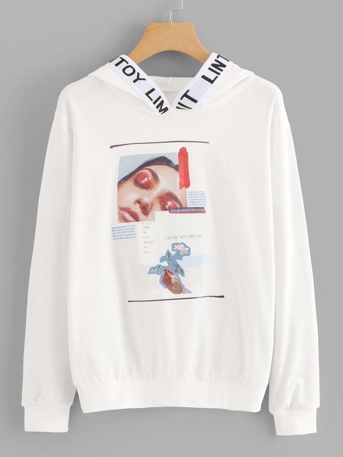 Купить Спортивная футболка с рисунками цифр и лента с рисунками букв, null, SheIn