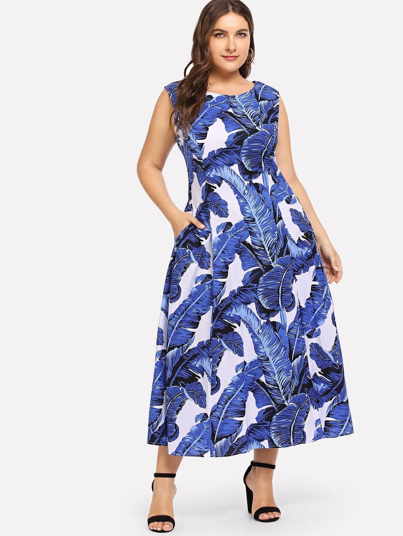 Купить Большое платье с рисунками пальм, Franziska, SheIn
