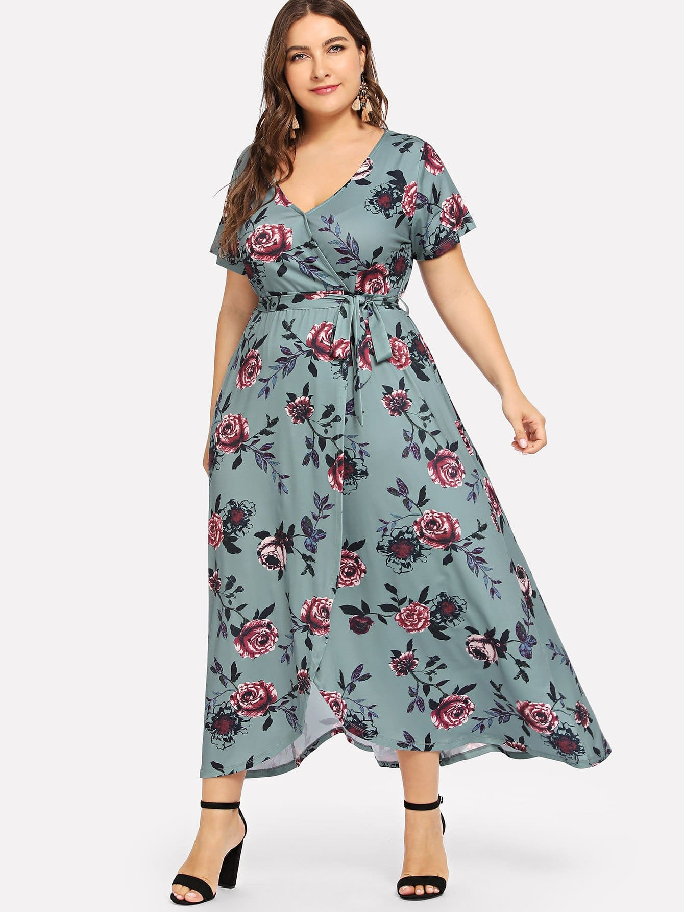 Plus Waist Knot Wrap Floral Dress летняя шина michelin pilot primacy 205 60 r16 96w xl mfs g1