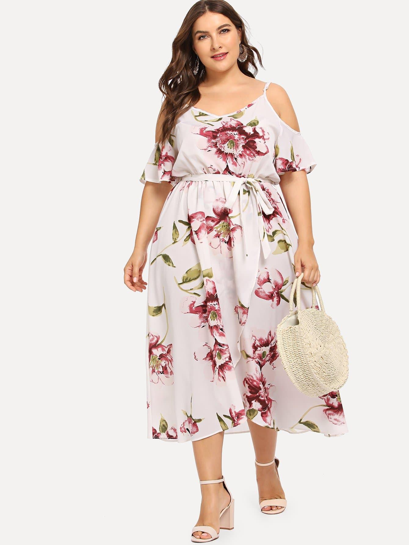Купить Плюс Холодное Плечо Цветочные Wrap Платье, Franziska, SheIn
