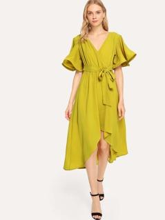 Bell Sleeve Surplice Wrap Solid Dress