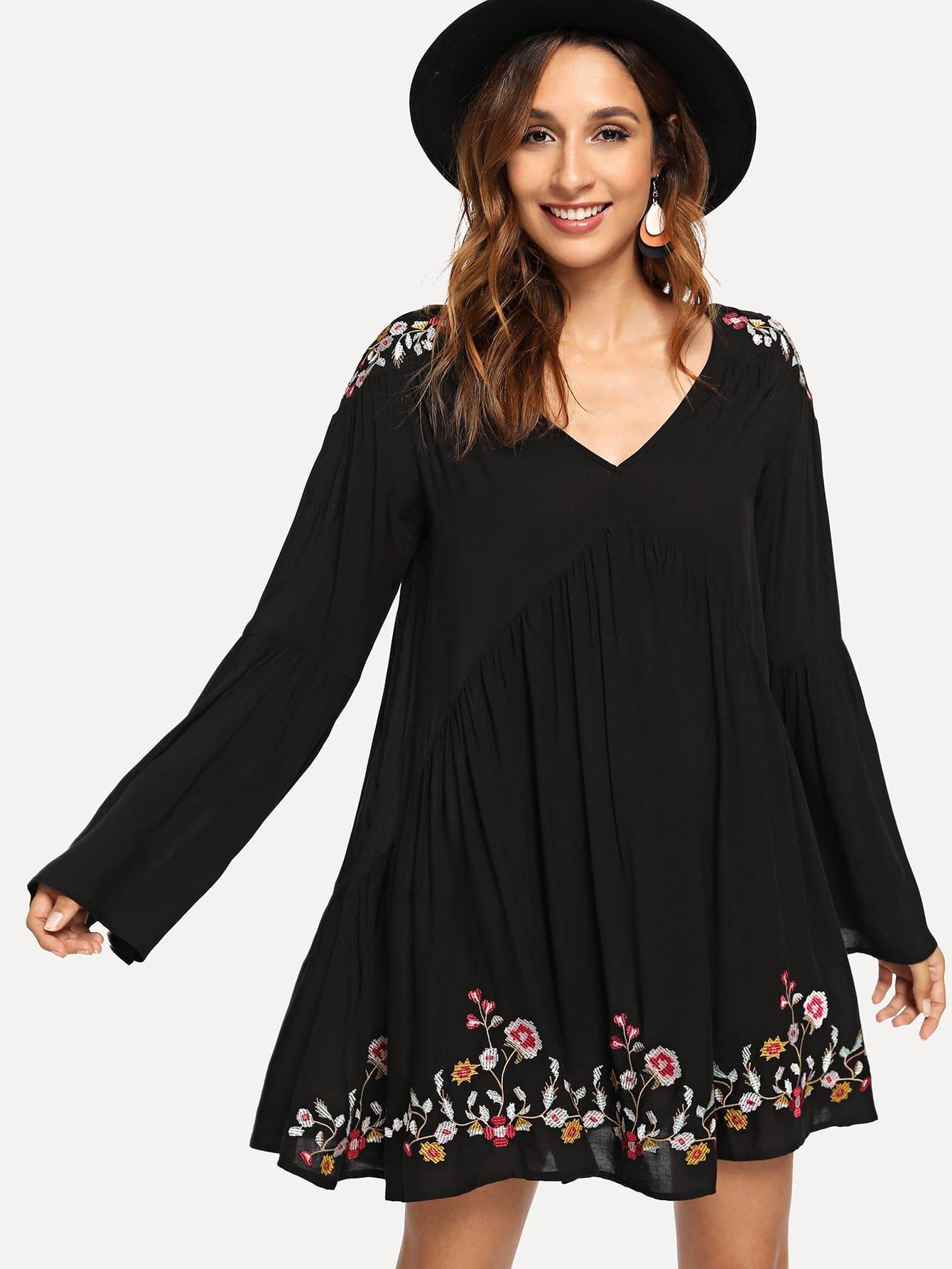 Купить Вышитое вышитое платье V-образным вырезом, Gabi B, SheIn