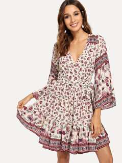 Waist Belted Wrap Floral Dress